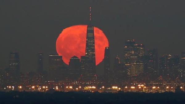 Keindahan kota Manhattan bertambah dengan dilatari purnama berwarna oranye dan merah yang menghiasi. Fenomena yang tak semua orang bisa menyaksikannya secara jelas. Corbis via Getty Images/Gary Hershorn