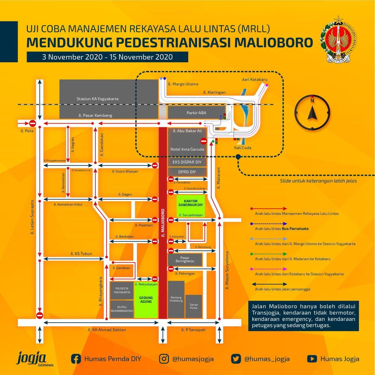 Rute pengalihan arus lalu lintas di Jl Malioboro mulai Selasa (3/11/2020)