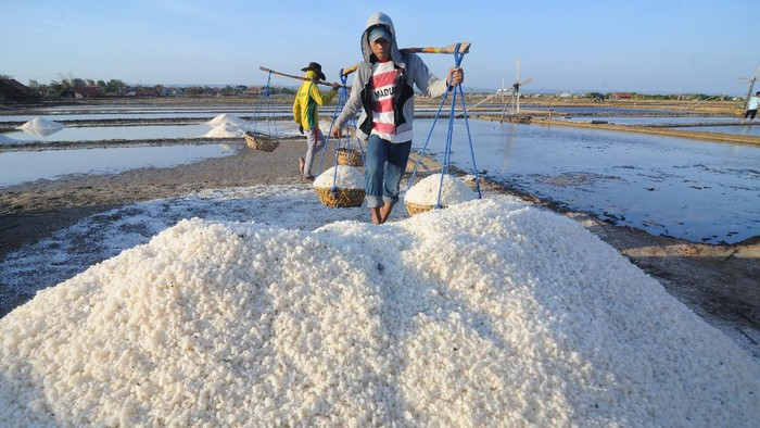 Petani garam di Desa Bunder, Pademawu, Pamekasan, Jawa Timur.