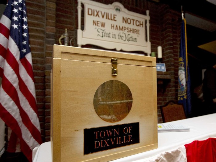 FILE - In this Monday, Nov. 7, 2016, file photo, a ballot box is set for residents in Dixville Notch, N.H., to vote at midnight. Two tiny New Hampshire communities that vote for president just after the stroke of midnight on Election Day, including Dixville Notch, cast their ballots just after midnight, Tuesday, Nov. 3, 2020. (AP Photo/Jim Cole, File)