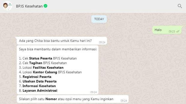 Layanan Chika BPJS Kesehatan lewat WhatsApp
