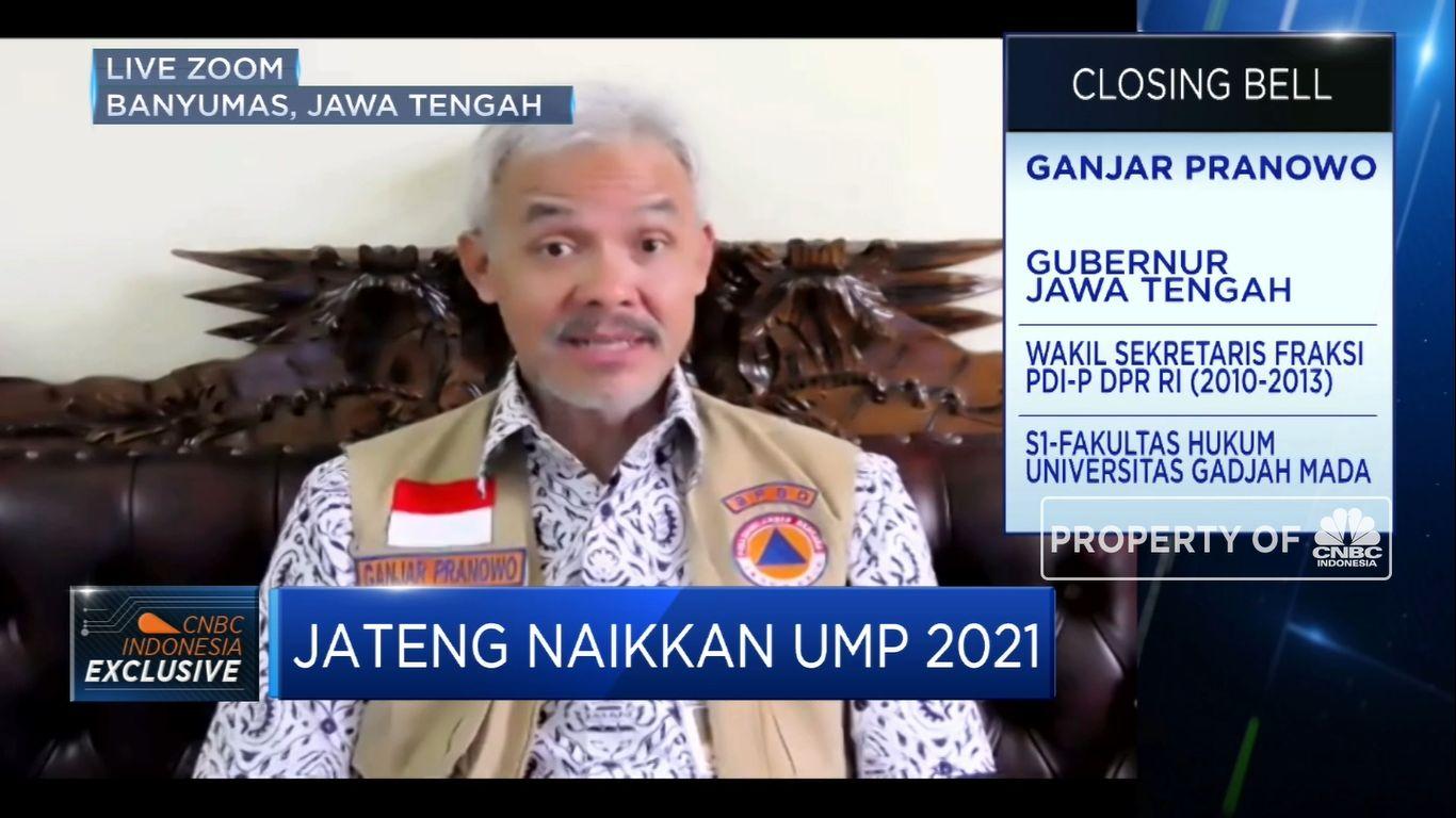 UMP Jateng 2021 Naik 3,27%, Ganjar Pranowo Jelaskan Alasannya(CNBC Indonesia TV)