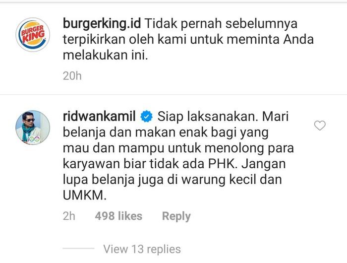 Burger King Ajak Pelanggan Jajan Makanan McD, Ridwan Kamil Ikut Komentar