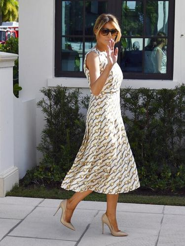First lady Melania Trump leaves after voting at the Morton and Barbara Mandel Recreation Center, Tuesday, Nov. 3, 2020, in Palm Beach, Fla. (AP Photo/Jim Rassol)