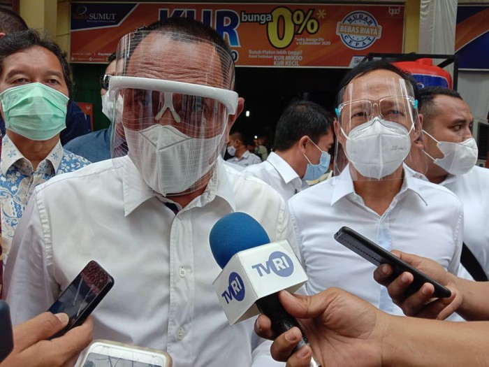 Gubsu Edy Rahmayadi di Pasar Sentral Medan (Ahmad Arfah-detikcom)