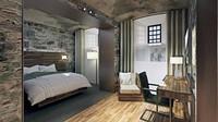 Mempertahankan dinding batu asli penjara, kamar hotel memiliki desain yang elegan. Ditambah lagi dengan berbagai fasilitas mewah di dalamnya. (Bodmin Jail)