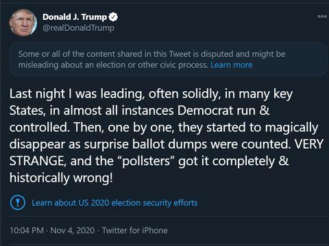 Cuitan Trump ditandai Twitter