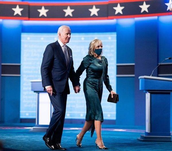 Joe Biden dan Jill Biden di debat perdana Pilpres AS 2020.
