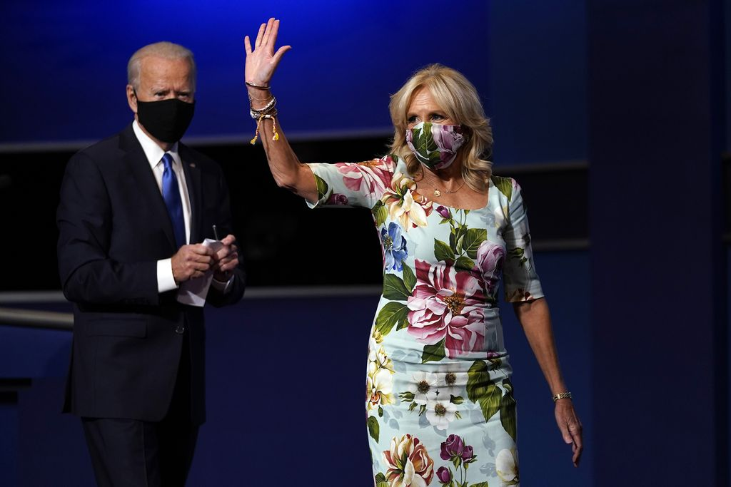 Jill Biden, wife of Democratic presidential candidate former Vice President Joe Biden, waves after the second and final presidential debate Thursday, Oct. 22, 2020, at Belmont University in Nashville, Tenn., with President Donald Trump. (AP Photo/Julio Cortez)