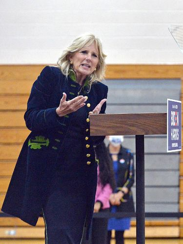 Former second lady Jill Biden, wife of Democratic presidential candidate Joe Biden, addressed about 75 people at a rally, Nov. 2, 2020, at East Middle School in Erie, Pa. as representatives of the Biden and Trump campaigns canvassed Pennsylvania on the last day before the presidential election. (Christopher Millette/Erie Times-News via AP)