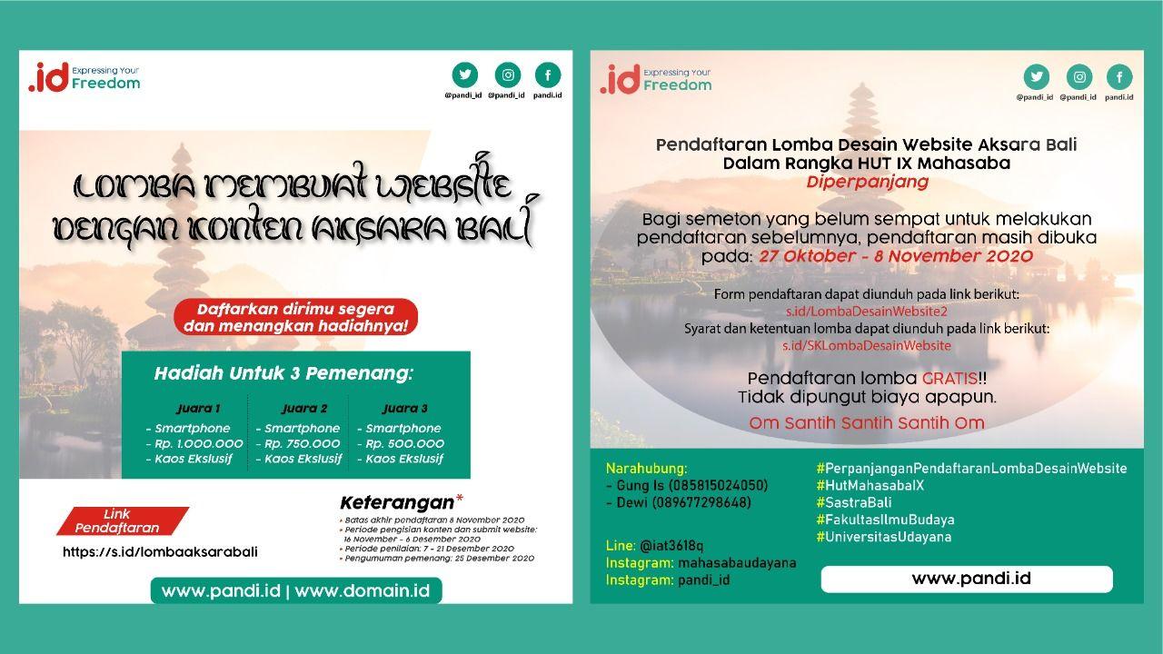 Selain aksara Sunda dan aksara Jawa, Pengelola Nama Domain Internet Indonesia (Pandi) juga menggelar kompetisi pembuatan website yang isinya aksara Bali.