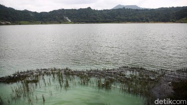 Air berwarna hijau ini dihasilkan oleh kandungan belerang yang ada di dalam danau. Karena rupanya danau ini memiliki kawah di sisinya.