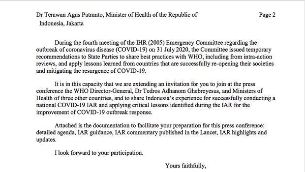 Undangan WHO untuk Menkes Terawan