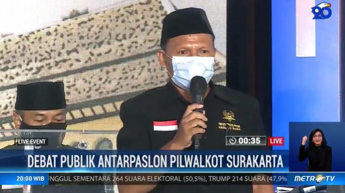 Cawalkot Solo FX Supardjo di Debat Pilkada Solo 2020 di The Sunan Hotel, Solo yang disiarkan lewat stasiun tv swasta, Jumat (6/11/2020).