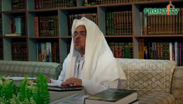 Habib Rizieq saat bersumpah tidak akan mengemis bantuan dari pemerintah RI. (Kanal YouTube Front TV)