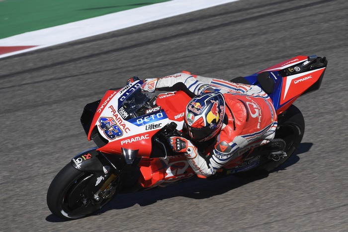 ALCANIZ, SPAIN - OCTOBER 23: Jack Miller of Australia and Pramac Racing  rounds the bend during the free practice for the MotoGP of Teruel at Motorland Aragon Circuit on October 23, 2020 in Alcaniz, Spain. (Photo by Mirco Lazzari gp/Getty Images)