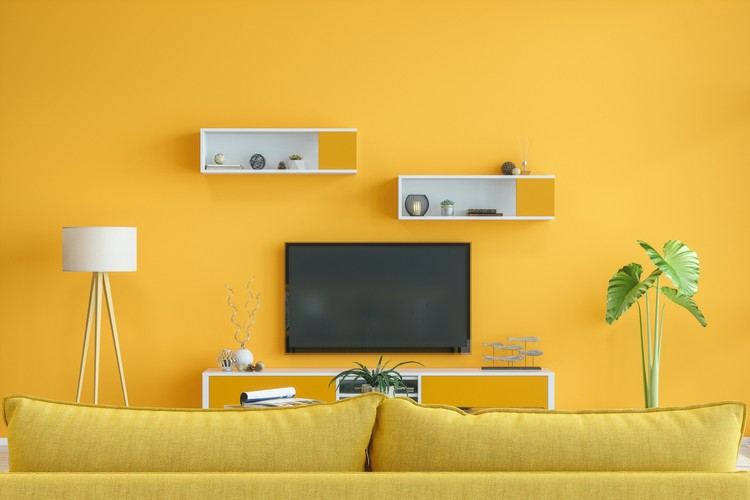 Smart Tv Mockup With Blank Screen In Yellow Room