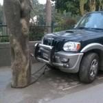 Yang Penting Sudah Ikhtiar, Mobil Dirantai ke Pohon Supaya Aman