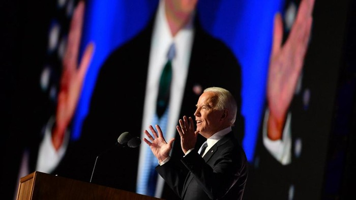 US President-elect Joe Biden delivers remarks in Wilmington, Delaware, on November 7, 2020, after being declared the winner of the presidential election. - Democrat Joe Biden was declared winner of the US presidency November 7, defeating Donald Trump and ending an era that convulsed American politics, shocked the world and left the United States more divided than at any time in decades. (Photo by ANGELA WEISS / AFP)