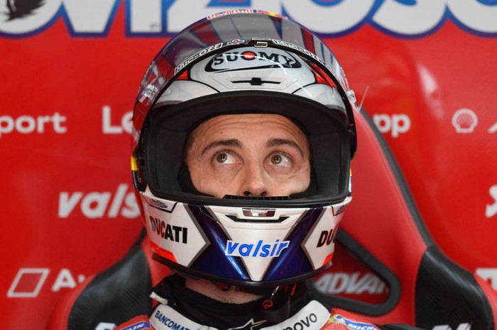 VALENCIA, SPAIN - NOVEMBER 07: Andrea Dovizioso of Italy and Ducati Team looks on in box during the qualifying for the MotoGP of Europe at Comunitat Valenciana Ricardo Tormo Circuit on November 07, 2020 in Valencia, Spain. (Photo by Mirco Lazzari gp/Getty Images)