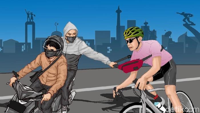 Ilustrasi begal sepeda