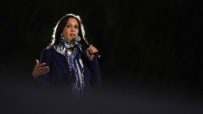Democratic vice presidential candidate Sen. Kamala Harris, D-Calif., speaks at a campaign event Tuesday, Oct. 27, 2020, in Las Vegas. (AP Photo/John Locher)