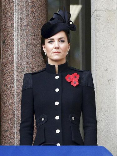 Britain's Kate, the Duchess of Cambridge stands on the balcony of the Foreign Office, during the Remembrance Sunday service at the Cenotaph, in Whitehall, London, Sunday Nov. 8, 2020. (Peter Nicholls/Pool Photo via AP)