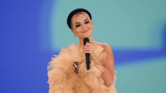 LONDON, ENGLAND - NOVEMBER 01: In this screengrab released on November 08, Rita Ora presenting the Best Electronic award at the MTV EMAs 2020 on November 01, 2020 in London, England. The MTV EMAs aired on November 08, 2020. (Handout/Courtesy of MTV via Getty Images)