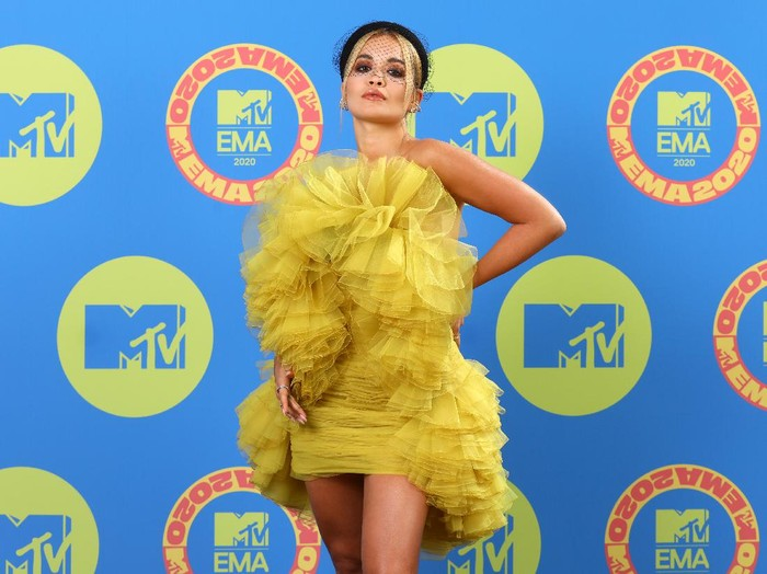 LONDON, ENGLAND - NOVEMBER 01: (EDITORS NOTE: This image has been retouched at the request of Artists management.) In this image released on November 08, Rita Ora poses ahead of the MTV EMAs 2020 on November 01, 2020 in London, England. The MTV EMAs aired on November 08, 2020. (Photo by Tim P. Whitby/Getty Images for MTV)
