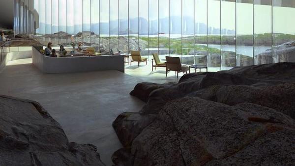 Di bagian dalam, bangunan ini akan memiliki berbagai kawasan wisata mulai dari ruang pameran, kafe hingga toko suvenir. (Mir / The Whale / Dorte Mandrup)
