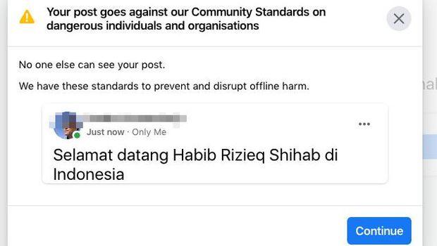 Postingan Habib Rizieq Dihapus Facebook