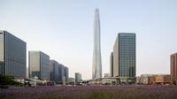 Tianjin CTF Finance Center tingginya mencapai 530 meter. Di dalam gedung ini berdiri sejumlah kantor, apartemen, dan hotel mewah. Gedung pencakar langit ini memiliki fasad kaca lengkung yang memperkuat bentuk gedung itu serta menciptakan tekstur berkilauan di permukaannya. (Foto: Seth Powers)