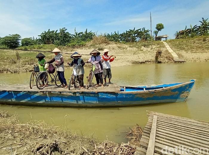 Perahu tambang di Sungai Wulan yang menghubungkan Kabupaten Kudus dan Demak, Rabu (11/11/2020).