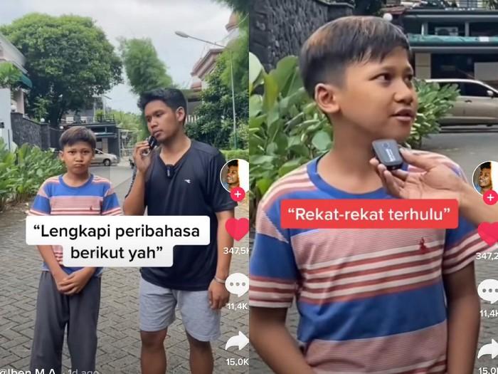Iben bertanya potongan peribahasa kepada bocah