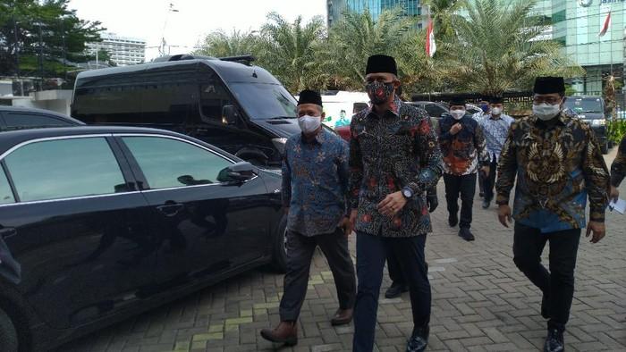 Ketum Demokrat AHY tiba di kantor PP Muhammadiyah, Jakarta, Kamis (12/11/2020).