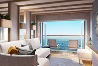 Ini kamar balkoni. Fiturkapal pesiar Iona yang paling mengesankan adalah dua SkyDome. Di dalamnya ada kolam renang yang bisa diubah menjadi panggung di malam hari.