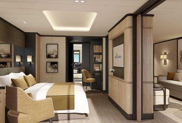 Kapal pesiar ini memiliki fasilitas berupa 17 dek tamu, 13 tempat hiburan, empat kolam renang, termasuk infinity pool, dan penyulingan gin. Ini kamar suitenya.