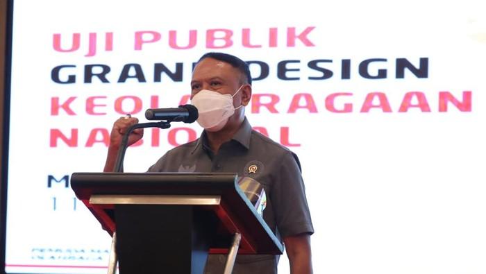 Menteri Pemuda dan Olahraga (Menpora) Zainudin Amali membuka acara uji publik grand design keolahragaan nasional di JW Marriott Hotel, Medan, Sumatera Utara.