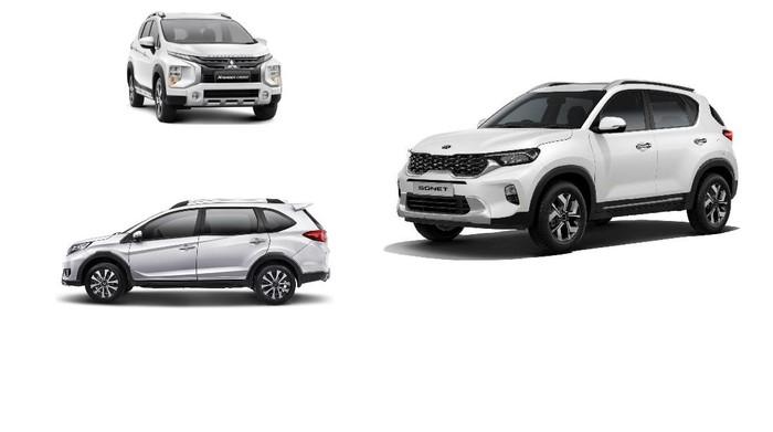 Mitsubishi Xpander Cross (atas), Honda BR-V (bawah), dan KIA Sonet (kanan)