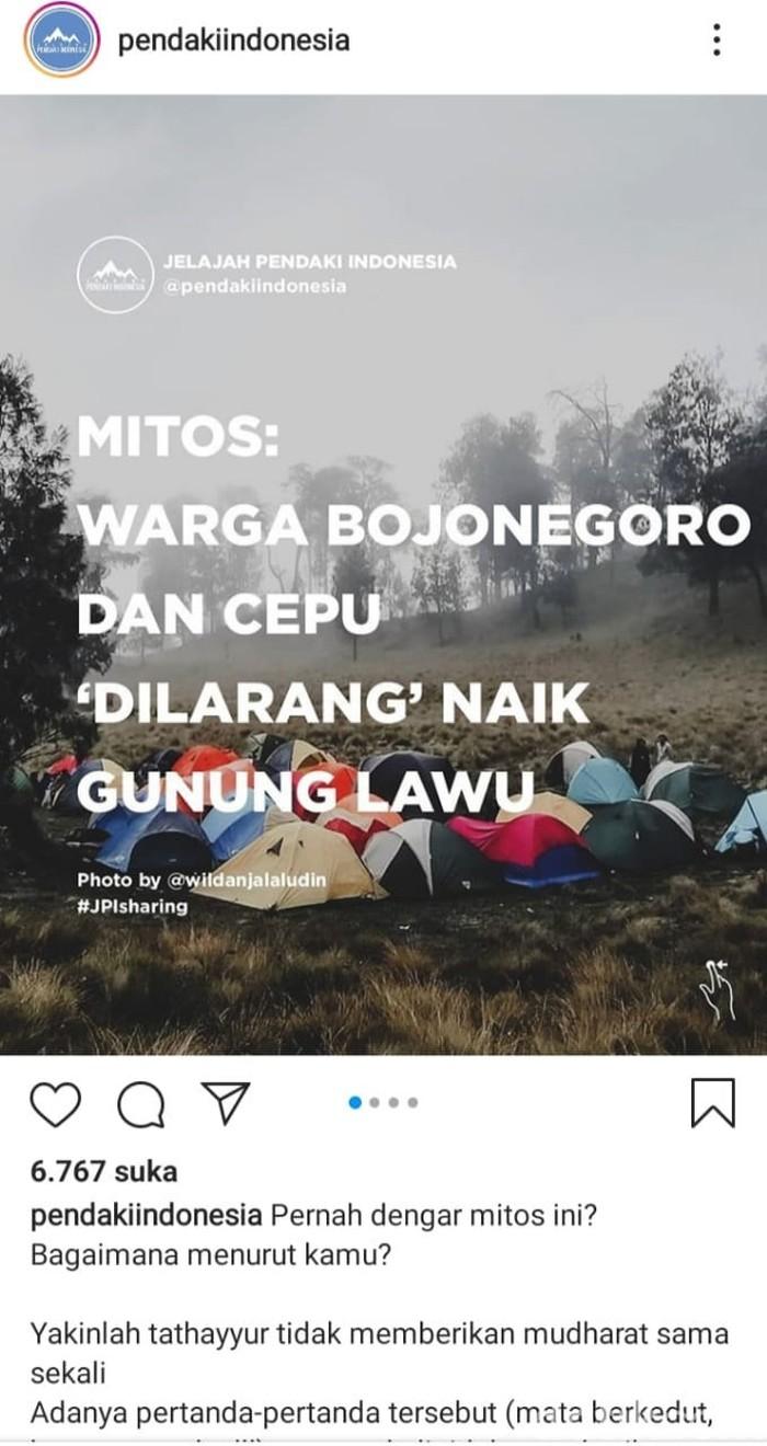 Postingan yang diunggah @pendakiindonesia soal mitos warga Bojonegoro dan Cepu dilarang naik ke Gunung Lawu, viral di medsos.
