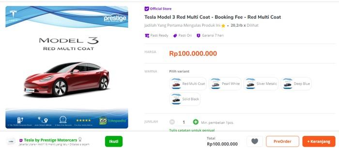 Mobil Tesla kini dijual di toko online