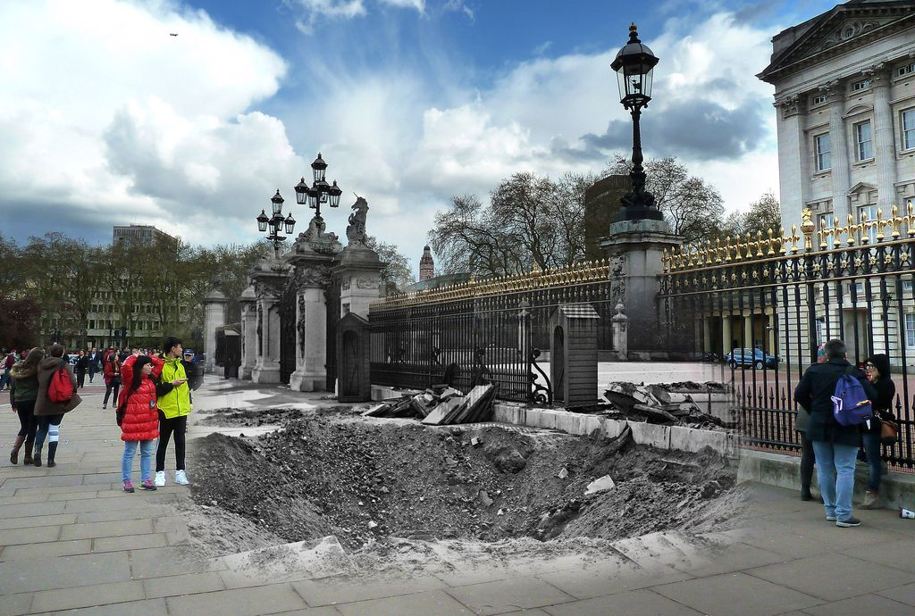 In this digital composite image a comparison has been made between a London scene during the Blitz of 1940-1941 and present day, to remember the 75th anniversary of the end of the Blitz in London on May 11, 2016. *** FILE PHOTO (#543112597) - 14th September 1940: A crater and damaged railings outside Buckingham Palace, London, after the explosion of a German bomb dropped in an air raid the previous day. (Photo by Central Press/Hulton Archive/Getty Images) *** (#528814626) LONDON, ENGLAND - APRIL 26:  Tourists gather outside Buckingham Palace on April 26, 2016 in London, England. The Blitz aerial bombing offensive lasted for eight months during the early stages of the Second World War, including 57 consecutive nights of raids on the city of London. On the evening of Saturday May 10, 1941 the Luftwaffe mounted its last major bombing raid of the Blitz on London, known as 'The Longest Night', bringing to an end a deadly campaign that killed over 20,000 people in the capitol, left another 1.5 million Londoners homeless and changed the London landscape more than at any time since the Great Fire of 1666. The British fortitude and defiance amidst such chaos gave rise to the term 'Blitz spirit'.  (Photo by Jim Dyson/Getty Images)