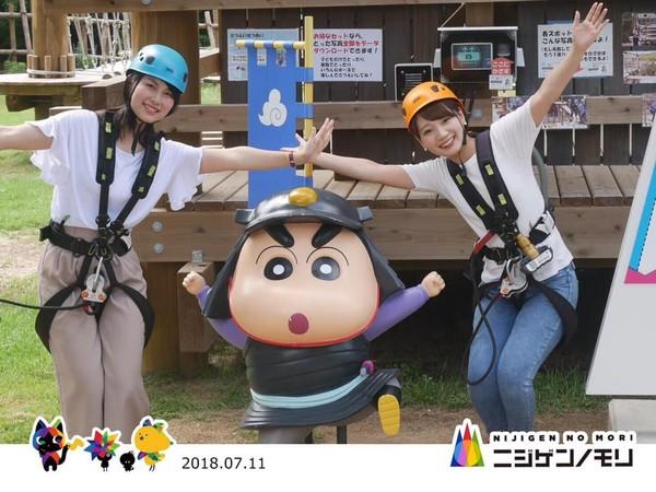 FotoSinchan yang menggemaskna di Nijigen no Mori dan pasti bikin traveler tertarik buat foto bersama.