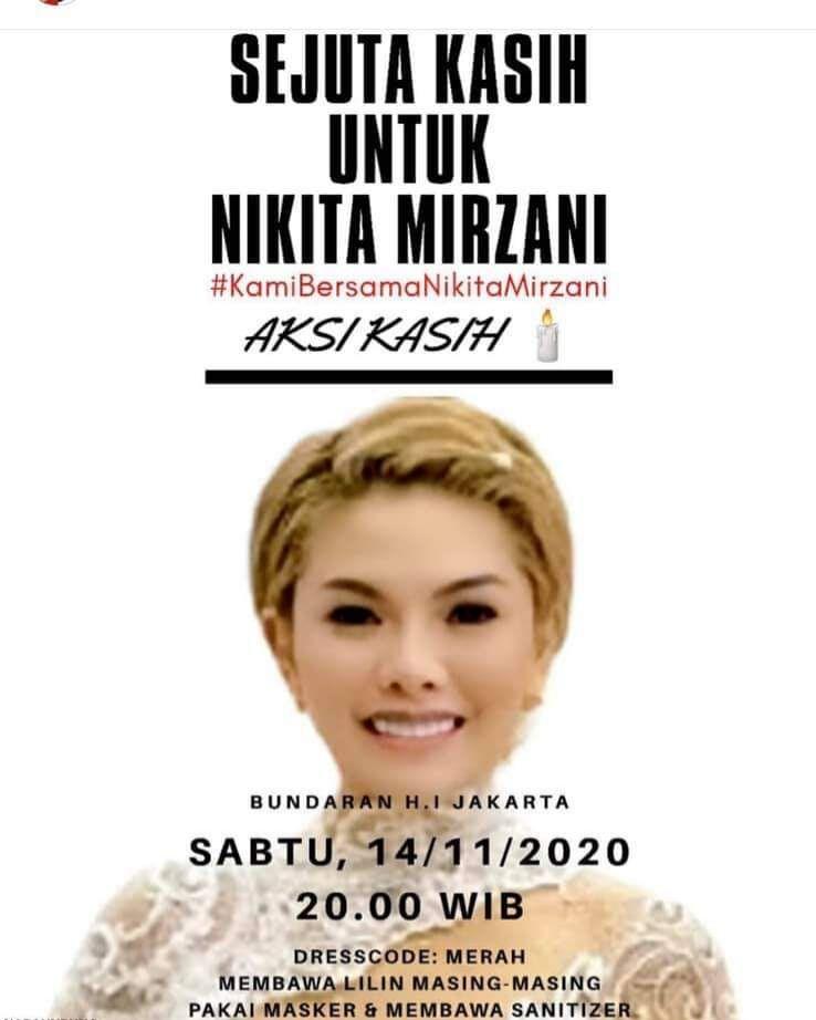 Ajakan aksi dukungan ke Nikita Mirzani