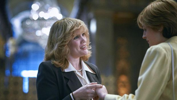 This combination photo shows Emma Corrin portraying Diana Spencer in the fourth season of the Netflix series