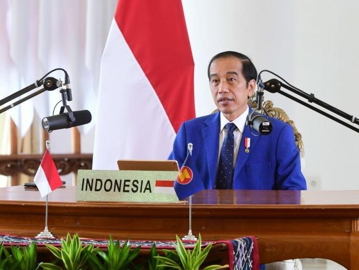 Presiden Jokowi saat berpidato dalam KTT ke-11 ASEAN-PBB, secara virtual dari Istana Kepresidenan Bogor, Minggu (15/11/2020).