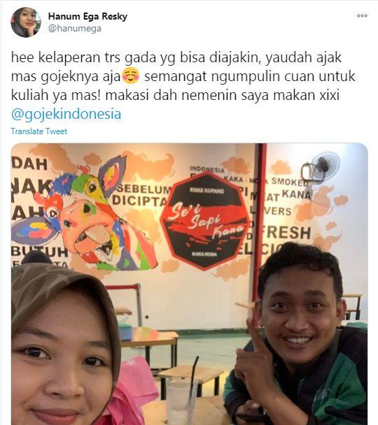 Bikin Baper! Netizen Ajak Driver Ojol Makan Bareng di Restoran