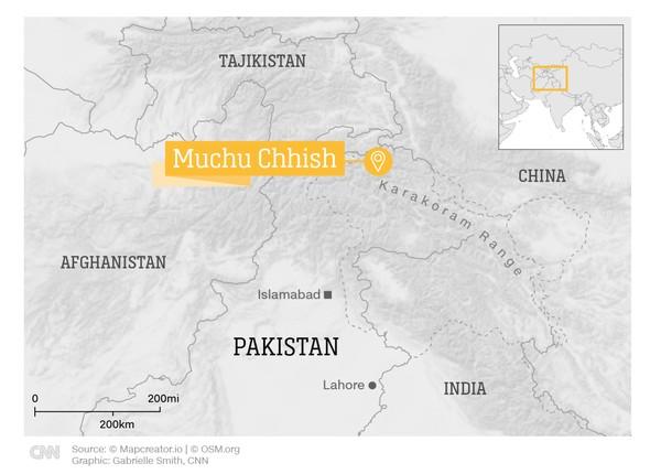 Lokasi Gunung Muchu Chhish ada di jajaran terpencil Pegunungan Karakoram, Pakistan utara dengan tinggi 7.453 MDPL (Foto: CNN)