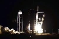 A SpaceX Falcon9 rocket, with the Crew Dragon capsule attached, lifts off from Kennedy Space Centers Launch Complex 39-A Sunday Nov. 15, 2020, in Cape Canaveral, Fla. Four astronauts are beginning a mission to the international Space Station. (AP Photo/Chris OMeara)