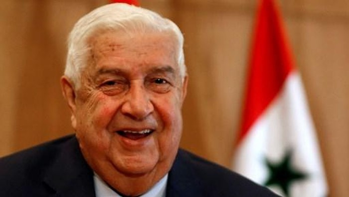 (FILES) In this file photo taken on June 23, 2020, Syrias Foreign Minister Walid Muallem holds a press conference on new US sanctions imposed on the country, in the capital Damascus. - Syrias foreign minister, Walid Muallem, died November 16, 2020 at dawn at the age of 79, the government announced on state television. (Photo by LOUAI BESHARA / AFP)